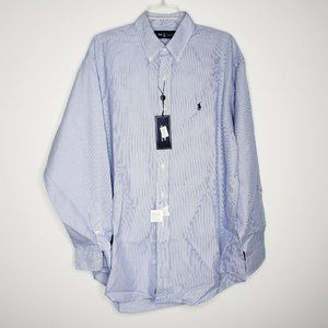 NEW Ralph Lauren Blue Striped Button Down Shirt L